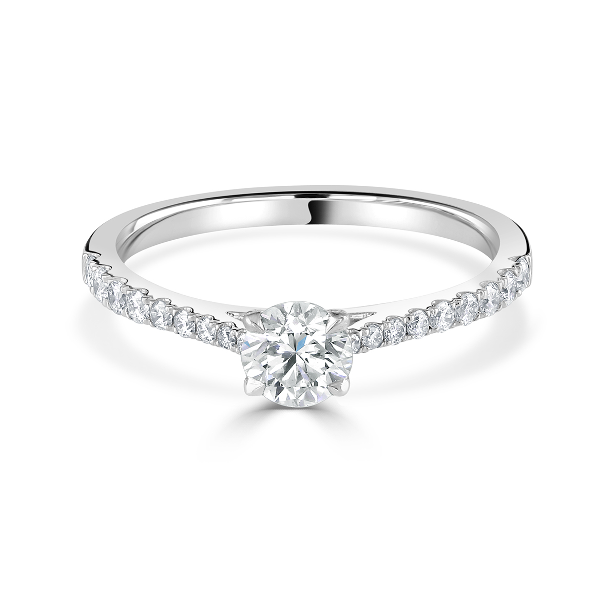 Round Brilliant Cut Ring with Diamond Set Shoulders