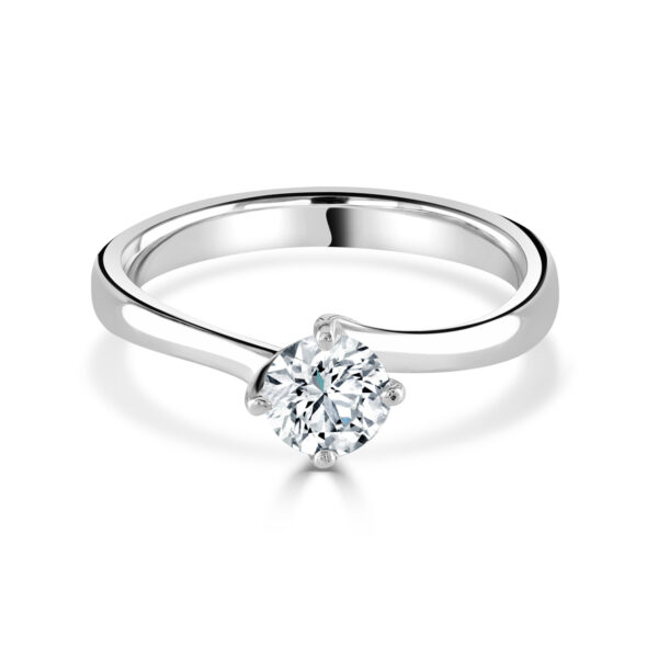 "Round Brilliant Cut Platinum Diamond ""Twist"" Ring"