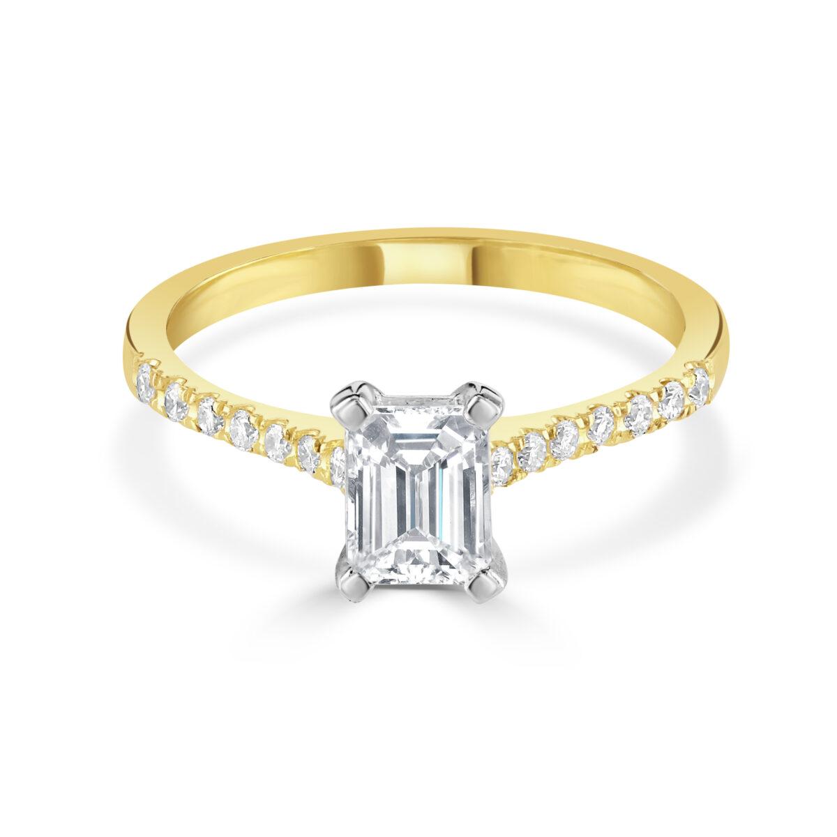 Emerald Cut Yellow Gold Diamond Ring