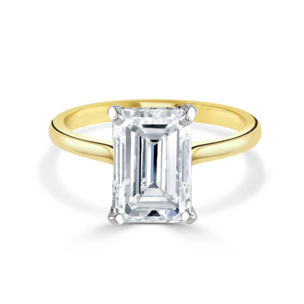 Emerald Cut Yellow Gold Diamond Ring