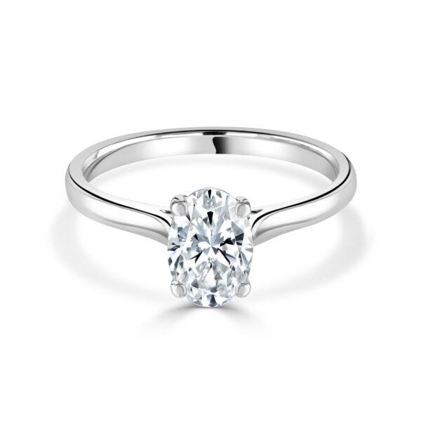 Oval Cut Diamond Platinum Ring