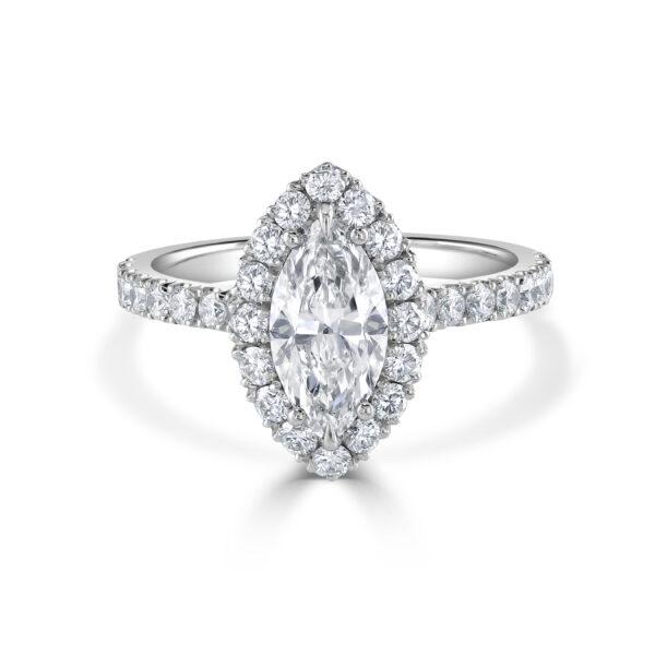 Marquise Cut Halo Set Diamond Ring