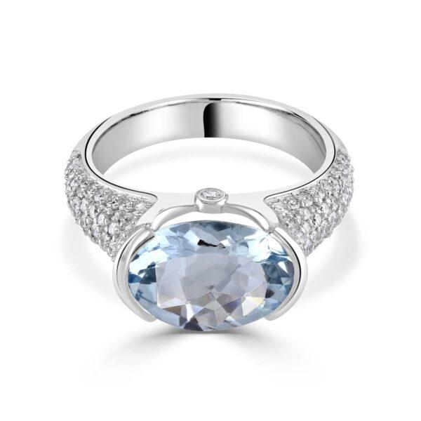 White Gold Aquamarine and Diamond Ring