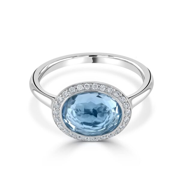 White Gold Blue Topaz Diamond Ring
