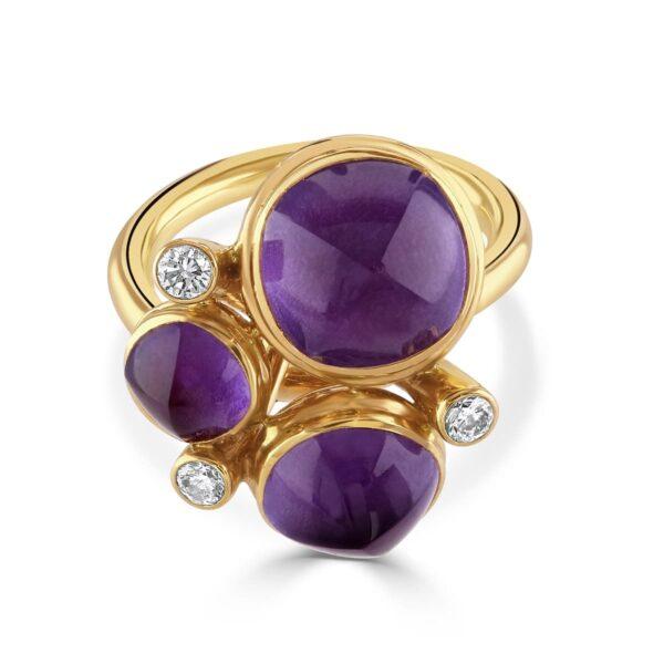 Rose Gold Amethyst Dress Ring