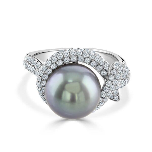 Tahitian Pearl and Diamond Dress ring