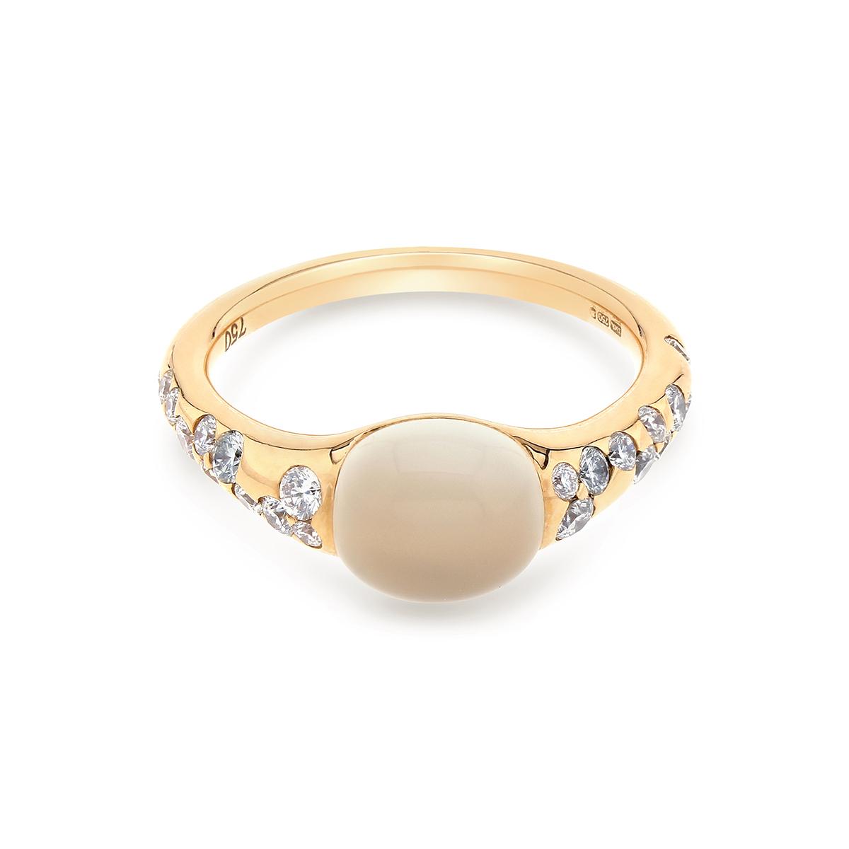 Rose Gold Moonstone and Diamond Dress Ring