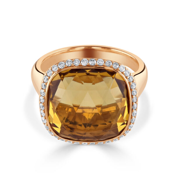 Rose Gold Citrine and Diamond Cluster Dress Ring