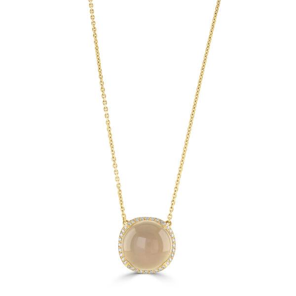Rose Gold Moonstone and Diamond Pendant