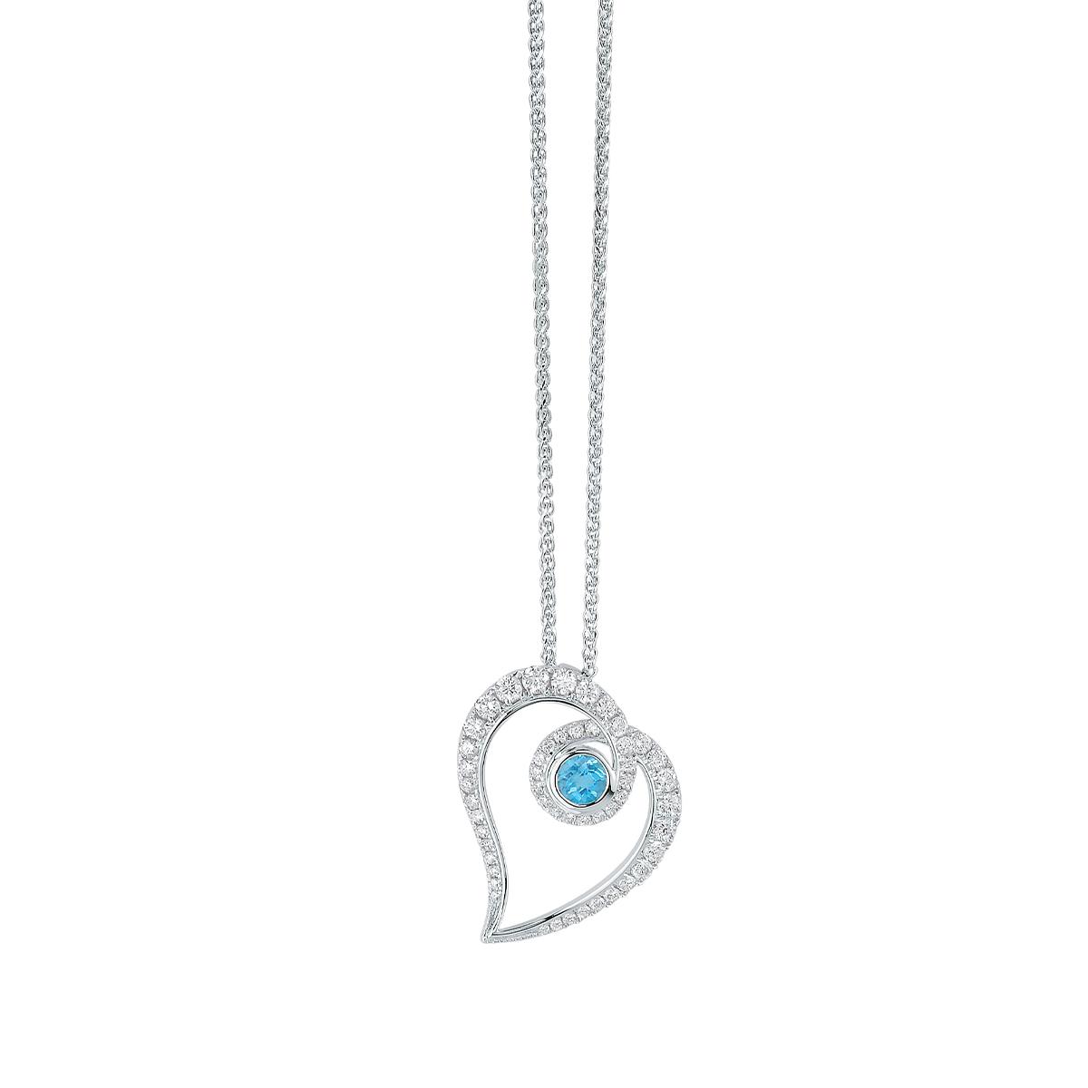 White Gold Topaz and Diamond Heart Shaped Pendant