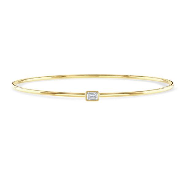 Diamond Classics Yellow Gold Emerald Cut Bezel Set Diamond Bangle