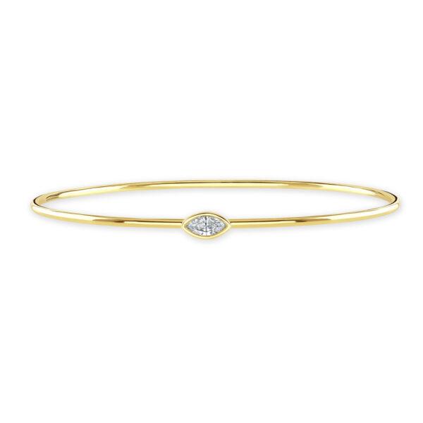 Diamond Classics Yellow Gold Marquise Cut Bezel Set Diamond Bangle