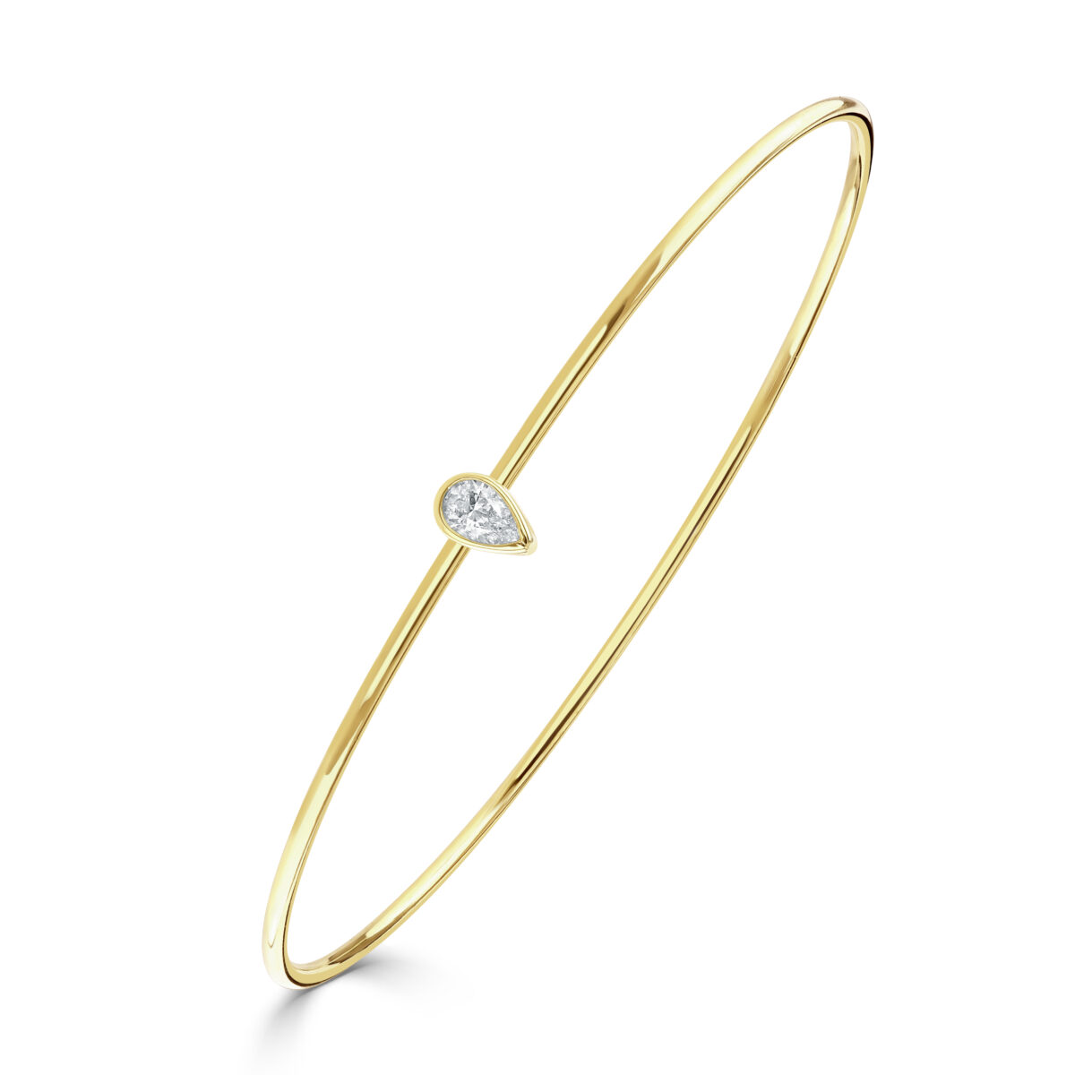Diamond Classics Yellow Gold Pear Cut Bezel Set Diamond Bangle