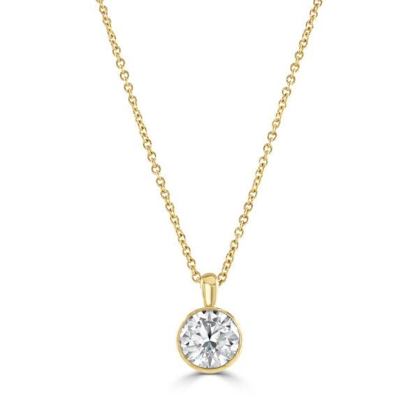 Diamond Classics Yellow Gold Bezel Set Diamond Pendant