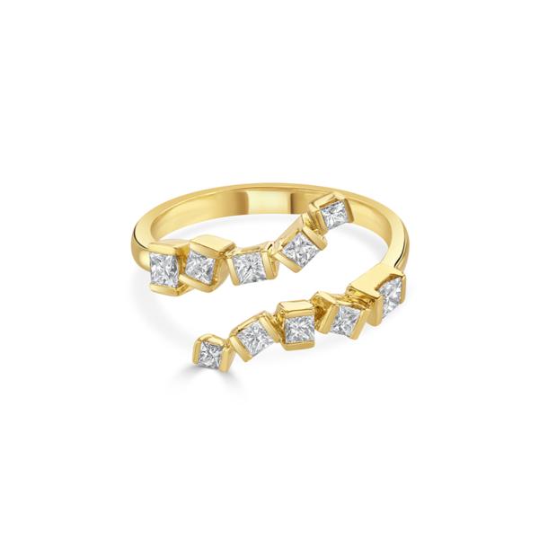 Hopscotch Yellow Gold Wraparound Diamond Ring