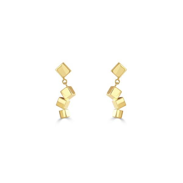 Hopscotch Polished Yellow Gold Drop Earrings
