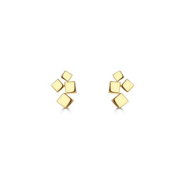 Hopscotch Polished Yellow Gold Stud Earrings