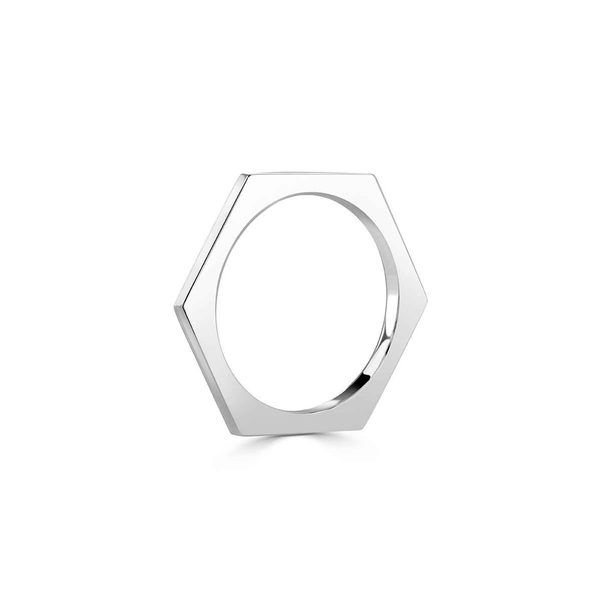 Honeycomb Platinum Stacking Ring