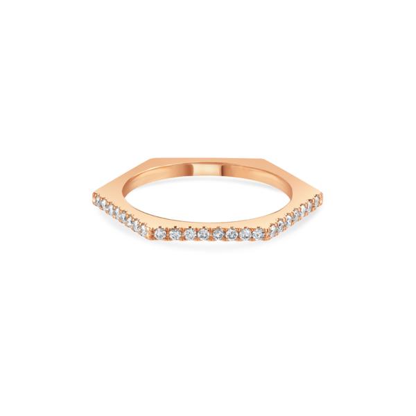 Honeycomb Rose Gold Diamond Stacking Ring