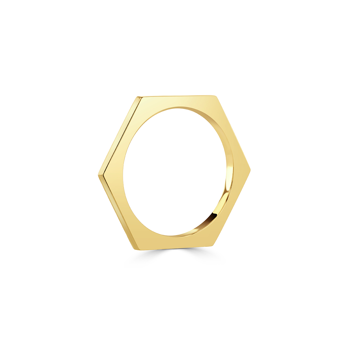 Honeycomb Yellow Gold Stacking Ring